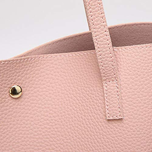 Women Girls Tassels Leather Tote Shoulder Bags Satchel Handbags Large Laptop Purses (Pink)