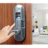 Digi Weatherproof Electronic Digital Security Fingerprint and Keypad Keyless Door Lock 6600-98 home use (Satin Chrome Left Lever Handle)