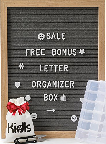 Premium Felt Letter Board - 12x16 Wood Frame with 750 Changeable Letters, Numbers and Emojis– Message Board Sign – Home, Office and Wall Décor + FREE Letters ORGANIZER BOX and Scissors by KidIs (Gray) by KidisPro