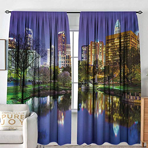 - Blackout Thermal Insulated Window Curtain Valance City,North Carolina Marshall Park United States American Night Reflections on Lake Photo,Multicolor,Rod Pocket Valances 120