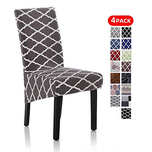 Stretch Dining Chair Slipcovers, Removable Washable Soft Spandex Geometric Print Large Dining Room Chair Covers for Kitchen Hotel Table Banquet (4 Per Set, Gray)