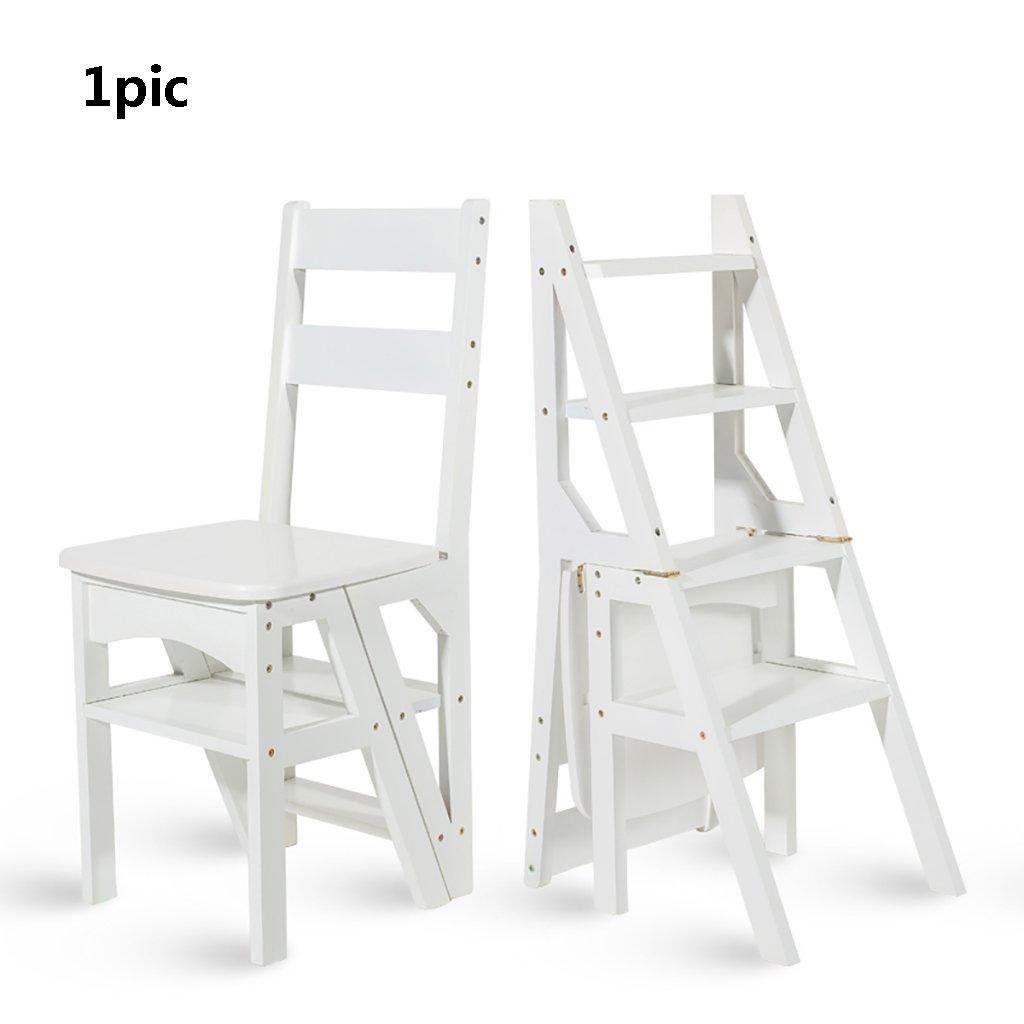 折りたたみ梯子無垢材折りたたみ椅子多機能階段スツールフラワースタンド屋内梯子を登る家庭用四段梯子棚 (色 : B) B07FNBTKDR