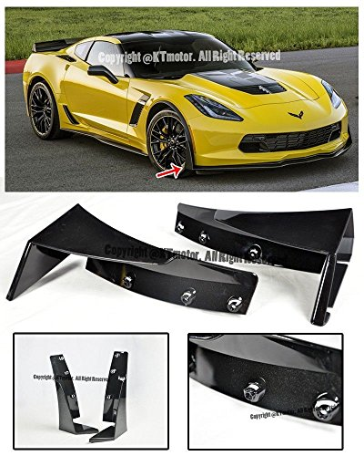Performance Package (Z06 Z07 Performance Package Stage 3 ABS Carbon Flash Metallic Front Lip Splitter Side Extension Winglets For 14-Up Chevrolet Corvette C7 2014 2015 2016 2017 14 15 16 17)