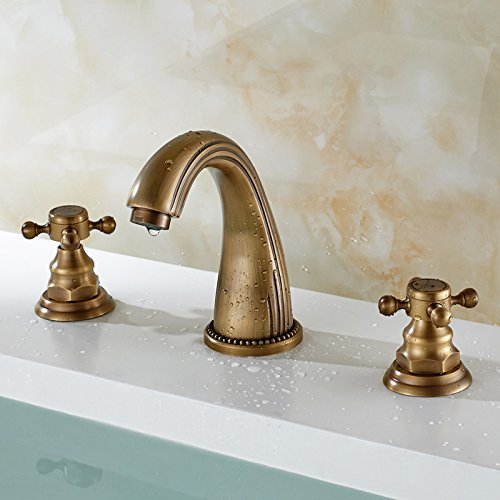 LHbox Basin Mixer Tap Bathroom Sink Faucet Euro-copper hot and cold basin faucet antique three hole solid brass taps