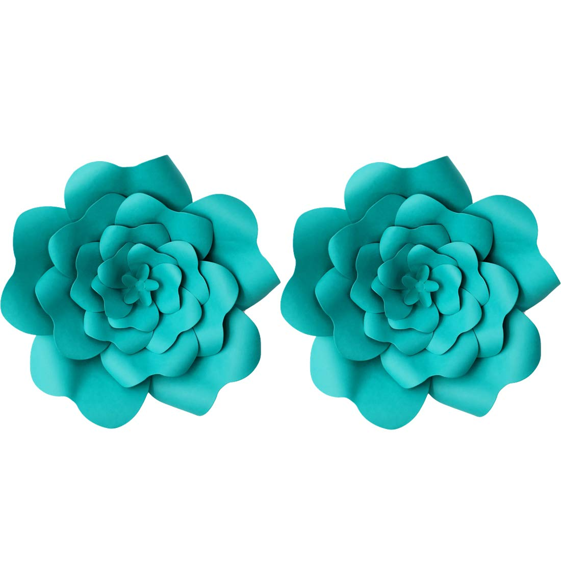 LG-Free 2pcs Paper Flower Decroations 3D Paper Flower DIY Handcrafted Flowers Wedding Party Backdrop Flowers Wall Backdrop Flower for Birthday Table Baby Shower Home Decor (12inch, Pond Green)