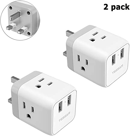 / Grounded Type G UK Ireland Hong Kong Travel Adapter 2 Pack,/ TESSAN UK Power Adapter with 3 American Outlets/ and/ 2 USB Ports USA to UK England Scotland Irish Plug Adaptor