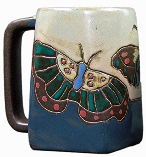 Mara Stoneware Mug - Butterflies - Blue 12 oz.