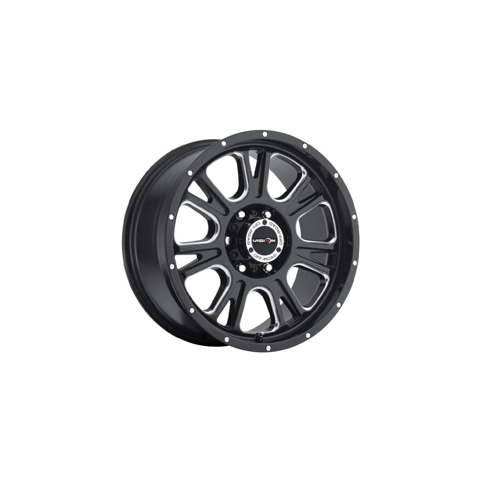 17 inch 17x8.5 Vision Off Road Fury Gloss Black Milled Spoke wheel rim; 6x5.5 6x139.7 bolt pattern with a +0 offset. Part Number 399 7883MS0
