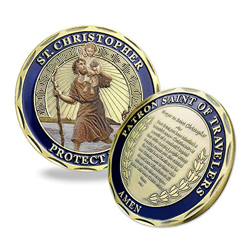 Indeep St Christopher Challenge Coin Protect Us Patron Saint of Travelers