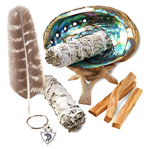 JL Local Smudge Kit - Sage, Palo Santo, Abalone Shell, Tripod, Feather & Kokopelli Keychain for Healing, Smudging, Cleansing, Purifying, Stress Relief (Prayer For Looking For A New Job)