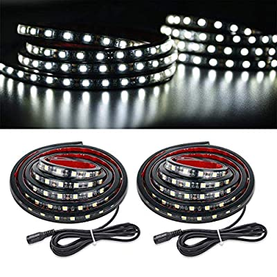 MICTUNING 2Pcs 60 Inch White LED Cargo Truck Bed Light Strip Lamp Waterproof Lighting Kit with On-Off Switch Fuse 2-Way Splitter Cable for Jeep Pickup RV SUV and More: Automotive