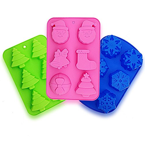 Snowflake Christmas Tree Cake Mold, ANIN 3 Packs Silicone Non-Stick Baking Pan Tray for Making Chocolate Ice Cube Muffins Soap Jelly - Pink, Green, Blue by ANIN