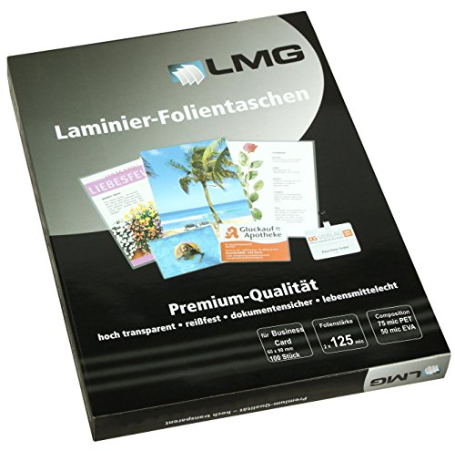 LMG 4250504526216Business Card Laminating Pouches 2x 125Micron; 60x 90 mm (Pouches 125 Laminator)
