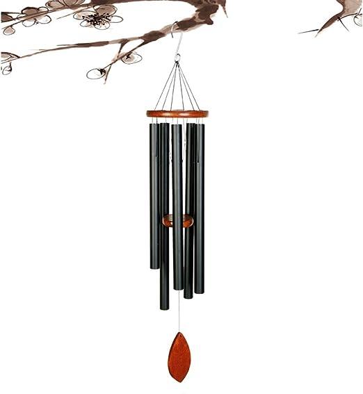 風チャイム屋外大型ディープトーンアメイジング・グレイス6本のアルミチューブエレガントなメロディック・共感チャイムウィンドベルホーム&ガーデン装飾パティオバルコニーギフトと風チャイム,黒