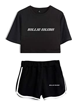 Billie Eilish Cartoon Pattern Short T Shirt Loose Top Unisex Music Hip Hop Rap