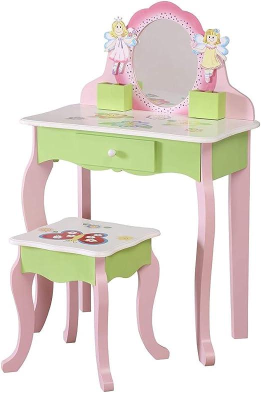 WODENY Juego de Mesa de tocador para niños Tocador para niños Cómoda y Silla y Taburete Conjuntos de Belleza Accesorios de Maquillaje de Moda Espejo con Almacenamiento de Madera para niñas Rosa: