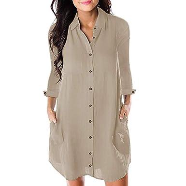 b66185b8f9d Honwenle Women V Neck Turn Down Collar Long Sleeve Button Down Pocket  Casual Shirt Midi Dress