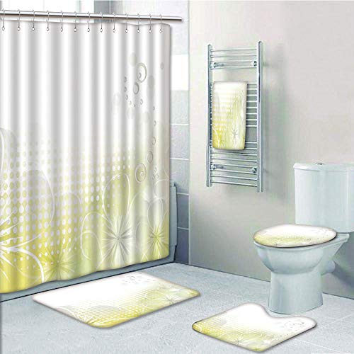 (Bathroom 5 Piece Set shower curtain 3d print Multi Style,Grey and Yellow,Abstract Grunge Design Water Bubbles and Flowers Image,Light Grey and Light Yellow,Bath Mat,Bathroom Carpet Rug,Non-Slip,Bath T)