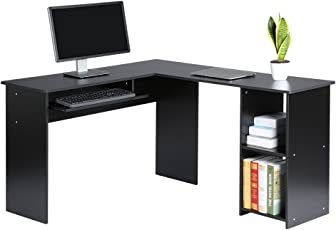 office desk table. LANGRIA Computer Desk Home Office Desk, Modern Table With 2 Drawers Built-