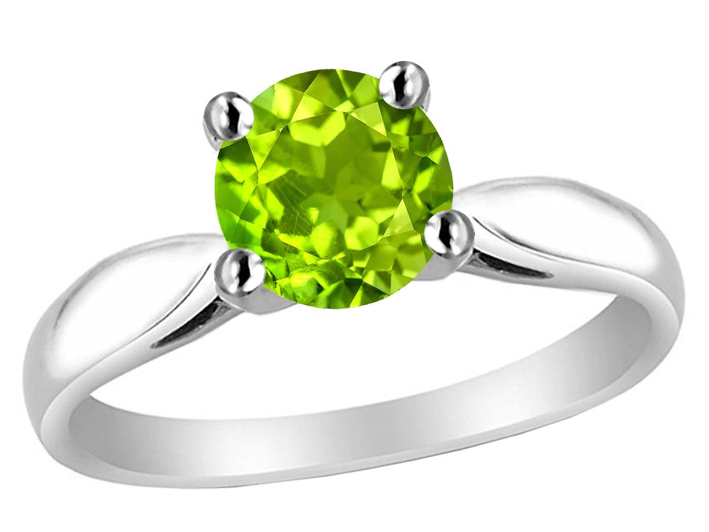 Star K Round 7mm Simulated Peridot Ring Sterling Silver Size 4