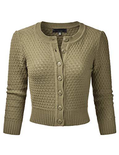 EIMIN Women's Crewneck Button Down 3/4 Sleeve Knit Crop Cardigan Sweater Olive S