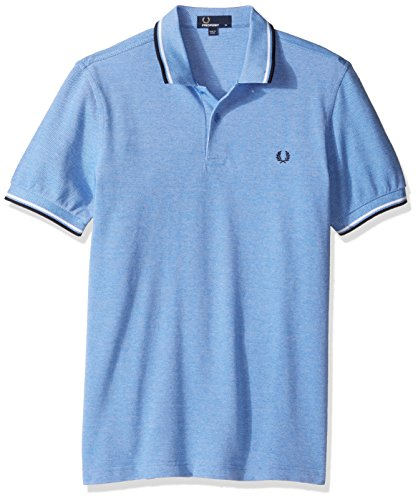 Fred Perry Men's Twin Tipped Shirt-M3600, Prince Blue Oxford/White/Navy, Medium
