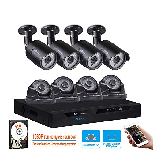LONNKY 16CH Full HD 1080P DVR Kits Security Camera System, 5 in 1 Digital Video Recorder with 8pcs 2.0MP Outdoor Bullet Dome CCTV Cameras, Motion Detection & Face Recognition, Included 2TB HDD, Black