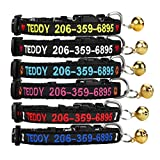 Moon Sea Personalized Cat Collar Custom Nylon Embroidered Pet Name for Cat ID,cat Collars with Bell