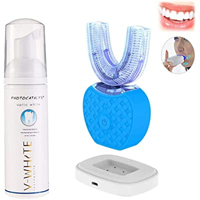 Cepillo de Dientes Eléctrico, 360° Ultrasónico Automático Cepillo de Dientes Impermeable IPX7 con 4 Modos y Blu-ray Cepillo para Blanquear el Cuidado Dental, Con Pasta de Dientes (Azul)