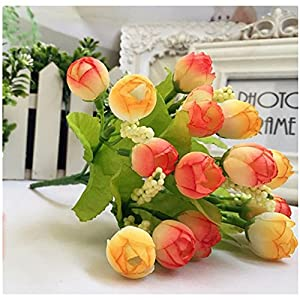 """Outtop 15 Heads 9.06"""" Mini Rose Artificial Flowers Bouquets Fake Flower for Home and Wedding Decoration 93"""