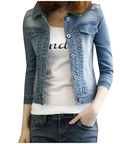 Pivaconis Women 3/4 Sleeve Button Down Fitted Denim Jacket Outwear Blue L