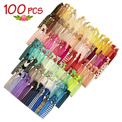 JLIKA Elastic Hair Ties (Set Of 100) Colorful Prints and Solids, No Crease Ouchless Ponytail Holders, Ribbon Hairties for Women Girls Teens and Kids -