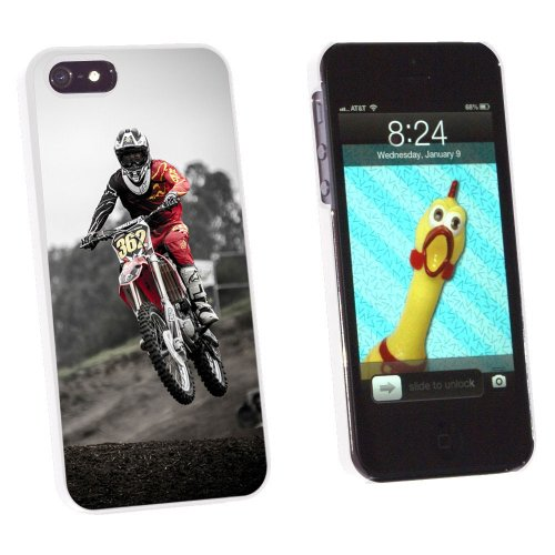 Graphics and More Dirt Bike Off Road Racing Snap-On Hard Protective Case for Apple iPhone 5/5s - Non-Retail Packaging - White