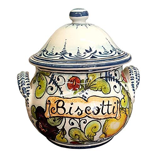 CERAMICHE D'ARTE PARRINI- Italian Ceramic Cookies Jar Biscotti Hand Painted Made in ITALY Tuscan Art Pottery ()