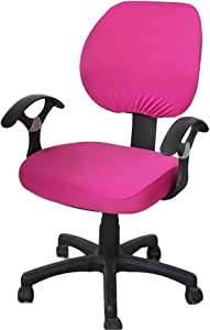 Jinzio Computer Office Chair Cover - Split Protective & Stretchable Cloth Polyester Universal Desk Task Chair Chair Covers Stretch Rotating Chair Slipcover, Fuchsia
