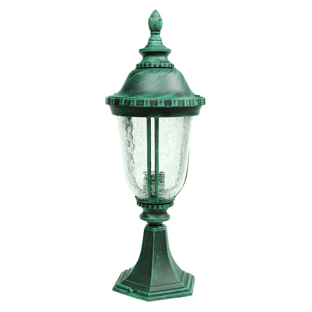 ETOPLIGHTING Bellagio Collection Exterior Outdoor Post Pillar Lantern with Hammered Glass, Verde Green APL1032