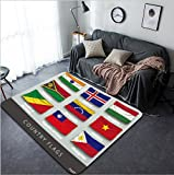 Vanfan Design Home Decorative 384870193 wave country flag with shadows and screws Modern Non-Slip Doormats Carpet for Living Dining Room Bedroom Hallway Office Easy Clean Footcloth