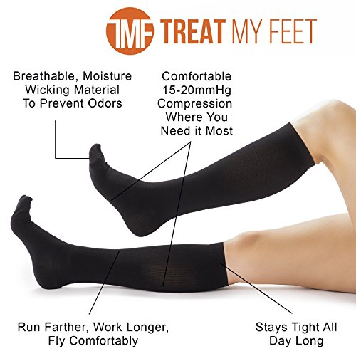 Compression Socks for Men & Women Knee-high compression stockings relieve calf, leg & foot pain - Graduated to boost circulation & reduce edema swelling, FDA, Nurse & Runner Recommended - S, M, L & XL