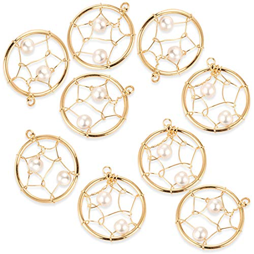 10Pcs Round Hoop Pearl Earring Charms Pendants Craft Supplies for Crafting, Jewelry Findings DIY Necklace Bracelet Making Accessory