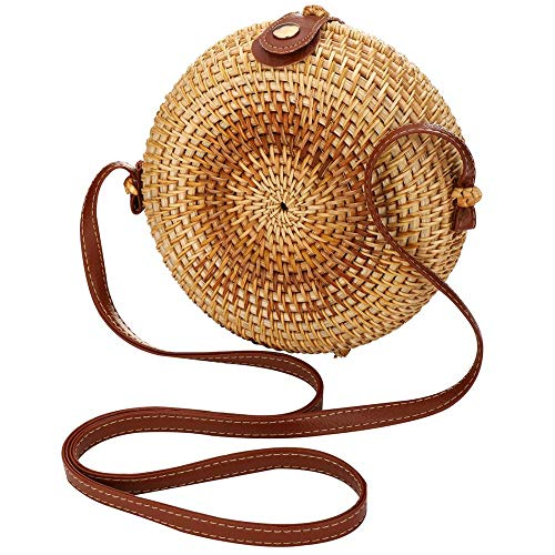 Rattan Shoulder Bag Exquisite Handwoven Crossbody Bag Summer Shopper Handbag for Beach Travel and Daily Use (180x180x70mm) ()