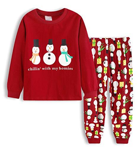 AmzBarley Christmas Pajamas Sets Family Matching Xmas PJS for Little Boys Girls Long Sleeve 2 Pieces Shirts Pants Cotton Kids Sleepwear Size 3T