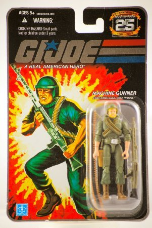 Prannoi G.I. Joe - 2007 - Hasbro - 25th Anniversary - Machine Gunner - Code Name: SSGT. Rock 'N Roll Action Figure - w/ Base & Accessories - New - Limited Edition - Collectible