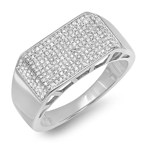 0.85 Carat (ctw) Sterling Silver Round Diamond Mens Hip Hop Pinky Ring (Size 13) by DazzlingRock Collection