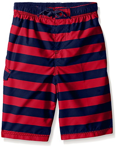 Kanu Surf Big Boys' Troy Stripe Swim Trunk, Navy/Red, Medium (10/12) ()