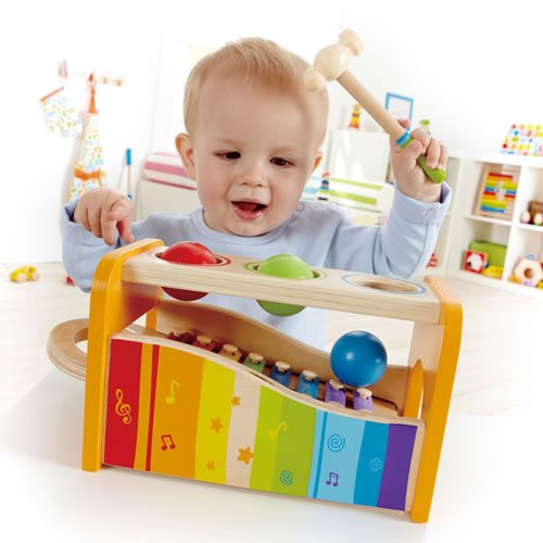 Large Product Image of Hape Pound & Tap Bench with Slide Out Xylophone