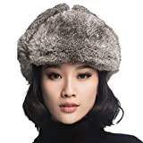 URSFUR Black Leather Rabbit Fur Aviator Hat
