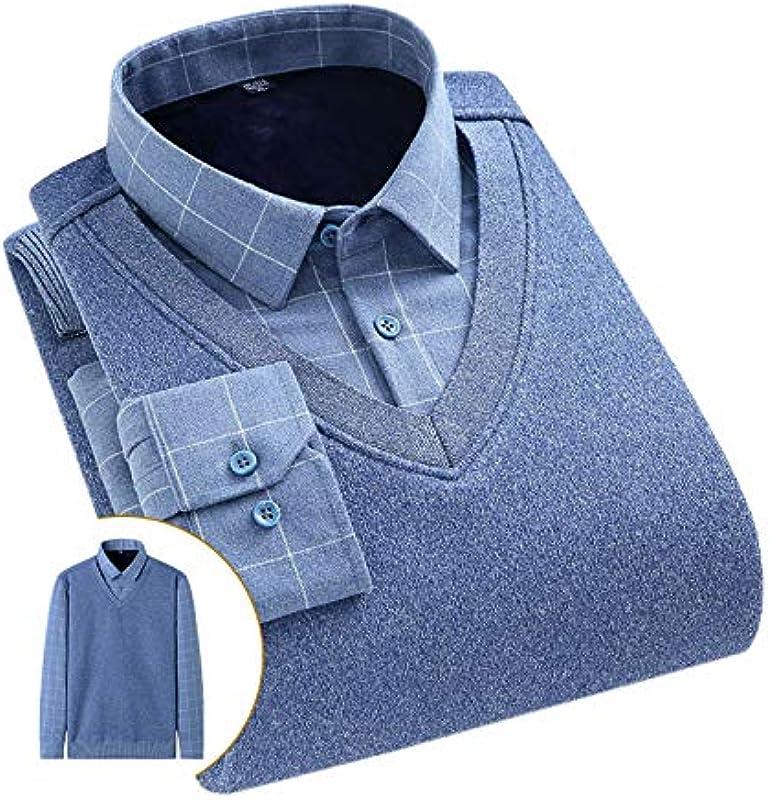 Elonglin Męskie Jungen Dicke Sweater Strick Pullover Hemd Langarmshirts mit Warmfutter Freizeit Slim Fit Blau 15 S: Odzież