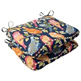 Pillow Perfect Indoor/Outdoor Ash Hill Rounded Seat Cushion, Navy, Set of 2 For Sale