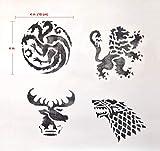 Game of Thrones Inspired Handmade Stencils (4x4 in). House Targaryen. House Stark.House Lannister.House Baratheon Sigils
