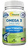 Cheap Pure Omega 3 Fish Oil Supplement (180 Softgels Lemon Flavor) 2400mg Max Strength, High Potency EPA & DHA, Natural Omega-3 Fatty Acids, Burpless Liquid Capsule Pills for Brain Joints Eyes Heart Health